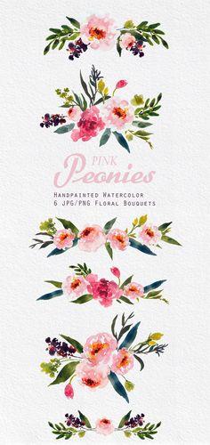 Watercolour Floral Clipart. Handmade by SmallHouseBigPony on Etsy