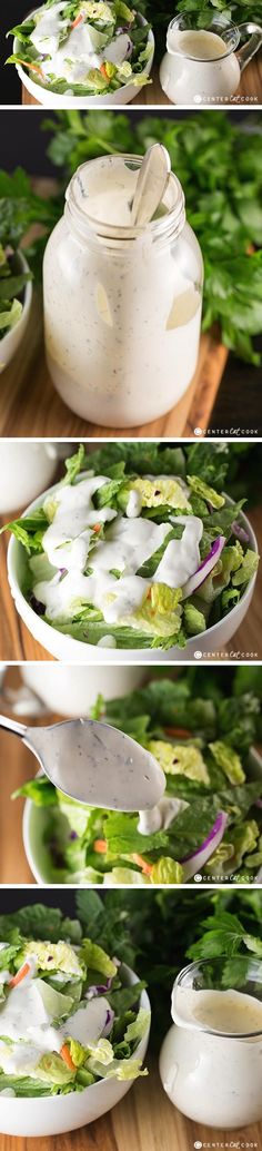 Try this HOMEMADE Buttermilk RANCH DRESSING recipe once and you will never go back to the bottled or mix packet again! Ranch dressing is easy to make and perfect for salads, dipping, and even marinating!