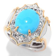 151-719 - Gems en Vogue 12 x 10mm Sleeping Beauty Turquoise Scrollwork Ring