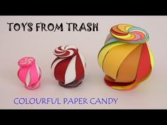 """To make this colorful paper candy you will need 10 different colors of paper and a scissors. First print the Inverted """"S"""" shaped pattern on all the color she. Origami Lamp, Diy Origami, Origami Paper, Cut Paper, Paper Cutting, Shape Patterns, Color Patterns, All The Colors, Different Colors"""