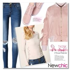 """11. Newchic"" by andrea2andare ❤ liked on Polyvore featuring jeans, women, bomber and polyvoreeditorial"