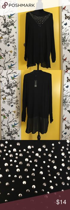 Women's Plus Size 1X Black Top New with Tags! Brand new high low black top with silver stud embellishment. Sheer black material at hem. Top by Cable & Gauge women's plus size 1X. Cable & Gauge Tops Blouses
