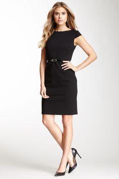 Short Sleeve Knit Sheath with Belt Dress