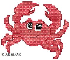 X-Stitch Magic: Sea-patterns: Crab Cross Stitch Sea, Small Cross Stitch, Cross Stitch Animals, Cross Stitch Charts, Needlepoint Patterns, Counted Cross Stitch Patterns, Cross Stitch Designs, Cross Stitch Embroidery, Hama Art