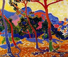 Andre Derain The Trees, landscape, oil, c.1906, Fauvism Albright-Knox Art Gallery, Buffalo, NY, USA