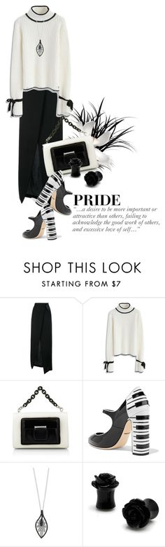 """""""Pride....a desire to be more important or attractive than others, failing to acknowledge the good work of others, and excessive love of self..."""" by queenrachietemplateaddict ❤ liked on Polyvore featuring Ann Demeulemeester, Chicwish, Balenciaga, Dolce&Gabbana, Effy Jewelry, skirt, Sweater, blackandwhite and definition"""