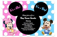 Mickey and minnie twins baby shower invitations baby shower baby mickey and minnie baby shower invitation perfect for celebrating twins the invitation can also filmwisefo
