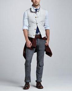 Brunello Cucinelli Suede Bomber Jacket, Shirt-Collar Puffer Vest, Striped Linen Sport Shirt & Wool Military Pants - Neiman Marcus