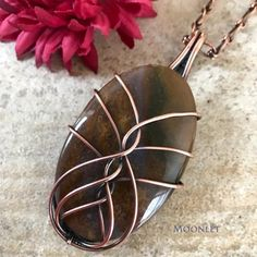 by MOONLET HANDCRAFTED JEWELRY African Moss Agate Antique Copper Pendant Necklace Wire Wrap Jewelry