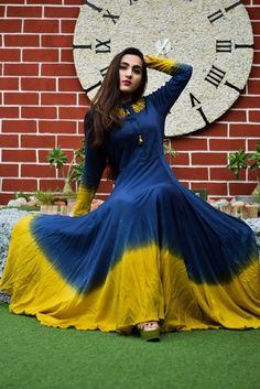 Midnight Blue and Mustard Shaded Gown, Indian Gowns, Indian Outfits, Indian Wear, Stylish Dresses, Fashion Dresses, Frock Fashion, Women's Fashion, Saree Dress, Bandhani Dress