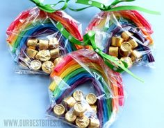 St. Pattys Day party favors, pot of gold, rainbow treats, gift, treat bags, goodie bags, st patricks day, kid, parti