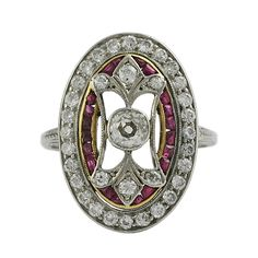 Edwardian Platinum on Gold Diamond and Ruby Ring: Removed Artisan Jewelry, Antique Jewelry, Fine Jewelry, Women Jewelry, Jewellery, Edwardian Ring, Natural Stone Jewelry, Art Deco Ring