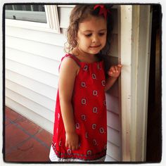 My baby girl in her Ohio state handmade A-line dress!!