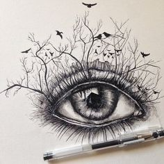 I'm getting sick of eye drawings, but they are really fun to draw and this artist achieved a sense of originality. Love it!