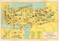 Map of Turkey& industrialization and agricultural wealth in the Industrial Development, Cradle Of Civilization, Pictorial Maps, Old Maps, Cartography, Wealth, Vintage World Maps, Activities, How To Plan