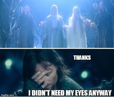 Aragorn - Thanks, I don't need my eyes anyway Hobbit Funny, O Hobbit, Aragorn, Legolas, Fellowship Of The Ring, Lord Of The Rings, Geeks, Funny Memes, Hilarious