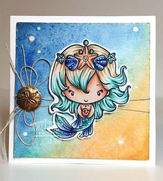 Hi TGF Friends,Holly here to bring you another project. Today I am featuring one of the many cute mermaid stamps that TGF offers. This one's name is Oona. She is one of the new mermaid releas…