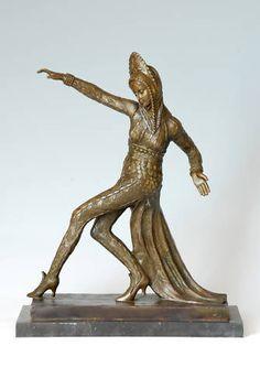 SIGNED C.MIRVAL,bronze art deco dancing girl sculpture