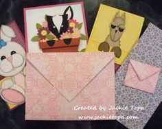 Jackie Topa shares how to use Stampin' Up!'s Simply Scored Diagonal Plate to make envelopes in a video on her Feb. 24, 2012 post. She also has a link to a pdf file she created to make all different sizes of envelopes.