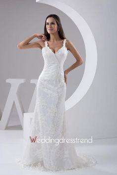 Straps Column Sweep Lace Wedding Dress with Buttons http://www.weddingdresstrend.com/en/strapless-satin-flowers-ball-gown-wedding-dress.html #Wedding #dress