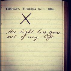 Teddy Roosevelt's journal entry the day his wife Alice passed away