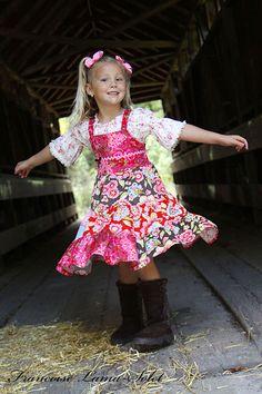 Corduroy patchwork apron Twirl Dress