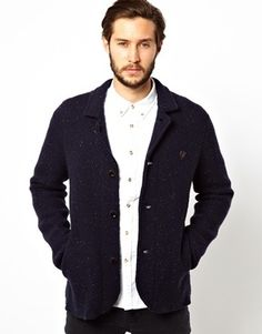 $246, Navy Knit Blazer: Farah Vintage Knitted Blazer Navy. Sold by Asos. Click for more info: https://lookastic.com/men/shop_items/98722/redirect