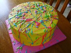 LOTS OF IDEAS!! esp sheet cakes. Fun funky neon cake by dmr217, via Flickr