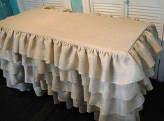 Ruffled Burlap Table Cover