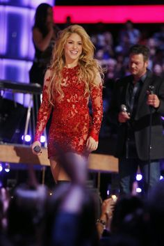 Shakira performing at the Voice