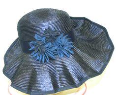 ff5c1cb4e5a Navy Parasial Straw Hat Romantic Style by MakowskyMillinery