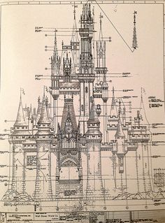 the south elevation architectural drawing for Magic Kingdom's Cinderella Castle