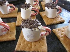 """""""Hot chocolate"""" cookies for kids' christmas parties.  Super easy and cute!"""