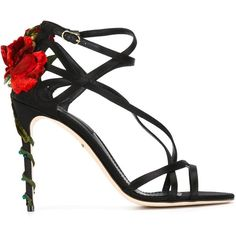 Dolce & Gabbana climbing rose sandals ($1,255) ❤ liked on Polyvore featuring shoes, sandals, heels, black, footwear, leather sandals, ankle strap heel sandals, ankle strap shoes, black leather shoes and black leather sandals