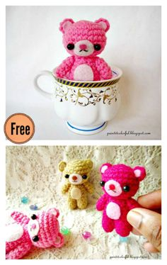 Crochet Bear Amigurumi Mini Teddy Bear Free Crochet Pattern - This Amigurumi Mini Teddy Bear Free Crochet Pattern makes a tiny little crochet teddy bear that works up quickly and can go with you everywhere. Crochet Teddy Bear Pattern, Crochet Patterns Amigurumi, Crochet Dolls, Knitting Patterns, Crochet Keyring Free Pattern, Crochet Gifts, Cute Crochet, Mini Teddy Bears, Crochet Animals