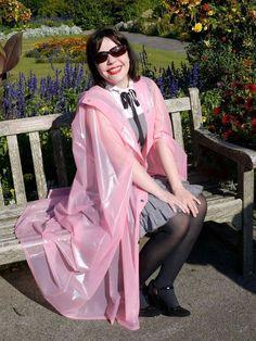 Pink Raincoat, Plastic Raincoat, Plastic Mac, Pink Plastic, Rain Bonnet, Parka, Capes & Ponchos, Purple Outfits, Fashion Project
