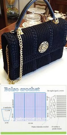 Crochet Purses bolso a crochet tipo Channel diy.tema 132 - bolso a crochet tipo Channel diy. Crochet Backpack Pattern, Crochet Purse Patterns, Crochet Tote, Crochet Handbags, Crochet Purses, Bag Patterns, Diy Crochet, Sewing Patterns, Knitting Accessories
