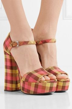 Heel measures approximately 145mm/ 6 inches with a 40mm/ 1.5 inches platform Multicolored canvas Buckle-fastening ankle strap Made in ItalyAs seen in The EDIT magazine