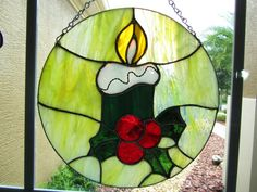 9911dc5098e70 Christmas Candle Stained Glass Sun Catcher ~ Christmas Decoration ~  Mistletoe Sun Catcher ~ Christmas Gift ~ Holiday Gift