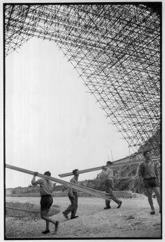 Henri Cartier-Bresson ITALY. Liguria. Cogoletto. 1953. Construction of a new bridge linking Genoa to Monte Carlo.