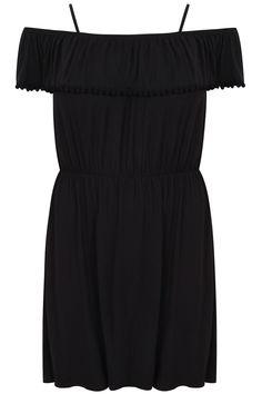 Black Gypsy Dress With Pom Pom Frill