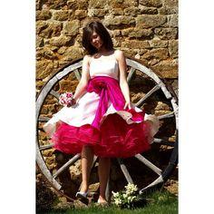 Colour Contrast Tea Length Wedding Dress
