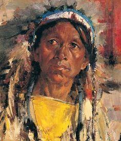 "Nicholai Fechin (Russian-American, 1881 - 1955) ""Indian Portrait"""