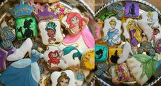 Disney Princess Cookies  Hand painted cookies Tiana, Ariel, Rapunzel, Cinderellla, Belle