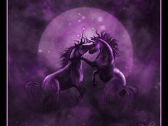 Unicorn in a Purple Moon - unicorn, purple, moon, horn, horse