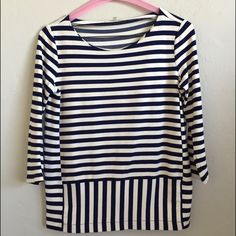 Madewell ponte 3/4 sleeve top Thick (ponte-fabric) blue and white striped 3/4 sleeve top from madewell. Size XS. Front has contrasting stripes-- see first and third picture. Back of shirt has stripes all in one direction. Great top! Madewell Tops