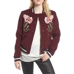 Women's Parker Pacifico Jacket (€540) ❤ liked on Polyvore featuring outerwear, jackets, elixir, varsity jackets, letterman jackets, red varsity jacket, wool blend jacket and college jacket
