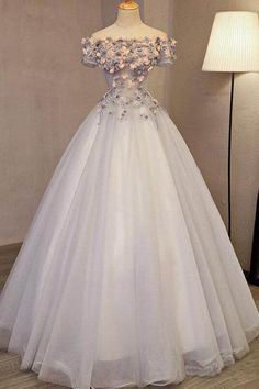 long prom dresses - Off the Shoulder Ball Gown Prom Dresses Long Princess Cute Quinceanera Dress Princess Prom Dresses, Cute Prom Dresses, Sweet 16 Dresses, Elegant Dresses, Pretty Dresses, Beautiful Dresses, Formal Dresses, Dress Prom, Long Dresses