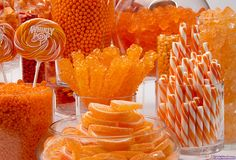Orange Candy Buffet Kit: 25 to 50 Guests Orange Party, Orange Wedding, Red Party, Orange Candy Buffet, Candy Display, Display Ideas, Color Naranja, Orange You Glad, Parties