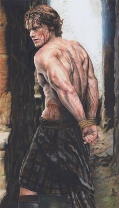 Jamie Fraser - showing evidence of Capt. Black Jack Randall's sadism--incredible artwork by Natira based on the Outlander series by Starz starring Sam Heughan Sam Heughan Outlander, Outlander Fan Art, Outlander Season 1, Outlander Quotes, Outlander Funny, Outlander 2016, Outlander Casting, Jamie Fraser, Claire Fraser